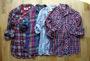 Four of my well-loved vintage plaid shirts
