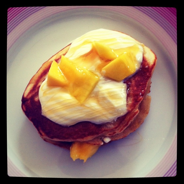 american style mango and honey pancakes