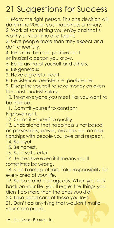 21 suggestions to success
