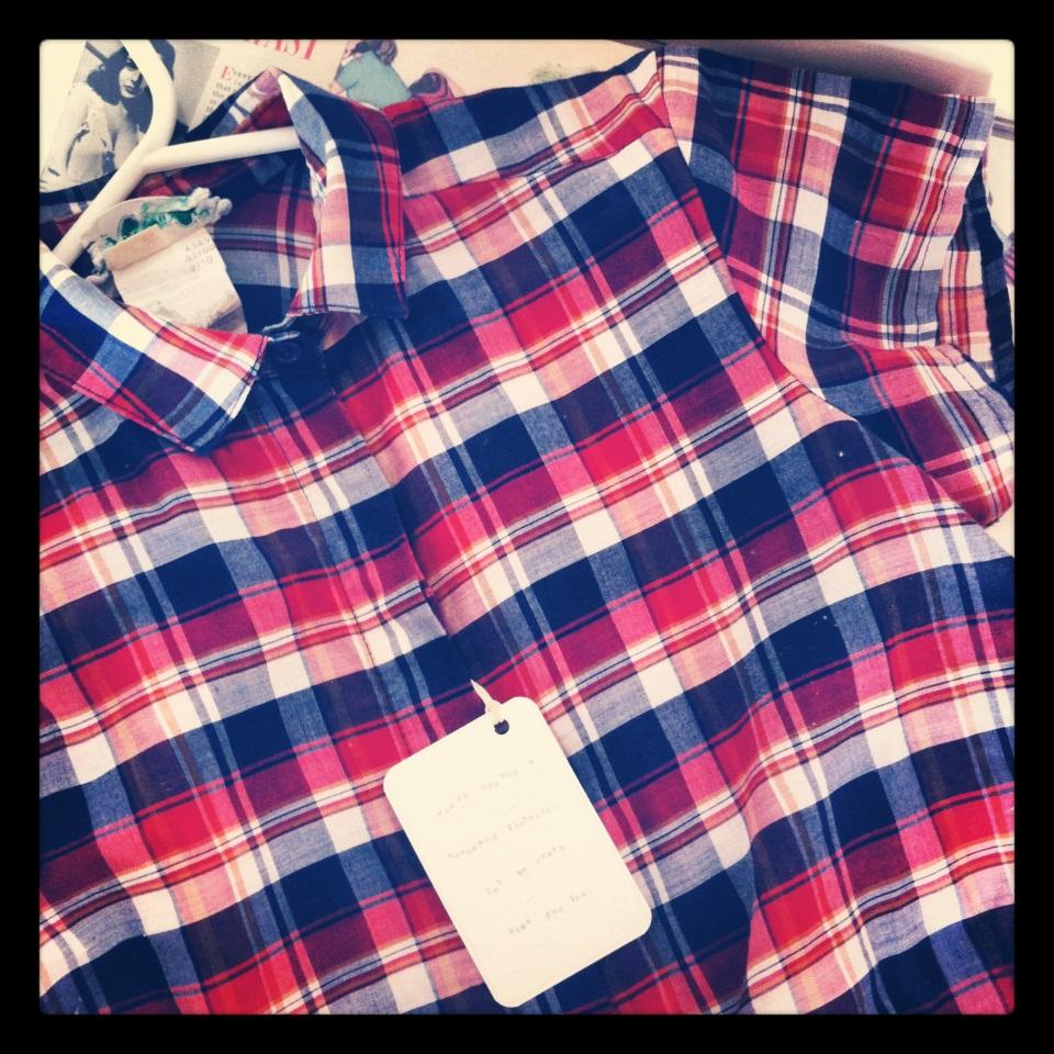 vintage checked shirt dress